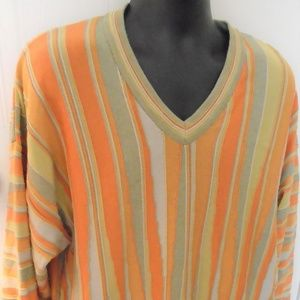 Tundra Mens Sweater XL Orange Striped Cotton Blend
